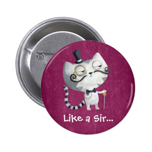 Sir Kitty Cat con los bigotes Pins