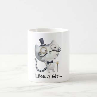 Sir Kitty Cat with Mustaches Mug