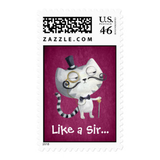 Sir Kitty Cat with Mustaches Stamp