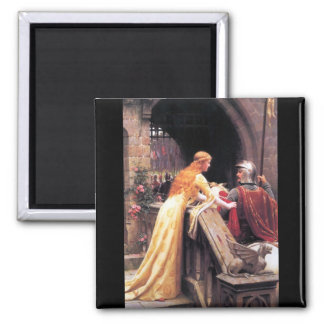 Sir Lancelot and Guinevere on the Stairs 2 Inch Square Magnet