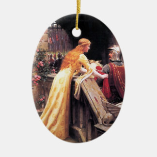 Sir Lancelot and Guinevere on the Stairs Ceramic Ornament