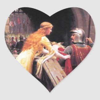 Sir Lancelot and Guinevere on the Stairs Heart Sticker