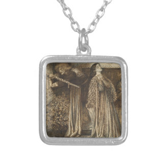 Sir Launcelot in Queen's Chamber Dante Rossetti Square Pendant Necklace