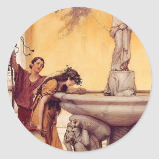 Sir Lawrence Alma-Tadema:Between Venus and Bacchus Classic Round Sticker