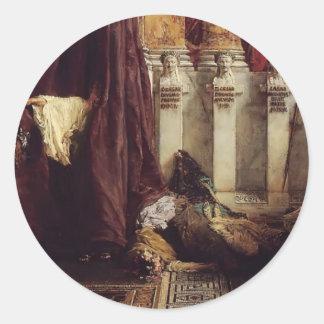Sir Lawrence Tadema: Ave Caesar! Io Saturnalia! Round Stickers