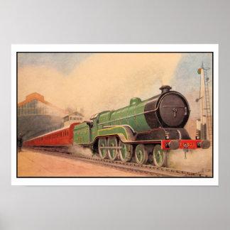 Sir locomotor Sam Fay del vintage de la acuarela Posters