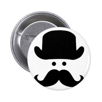 Sir Moustache Pin Redondo De 2 Pulgadas