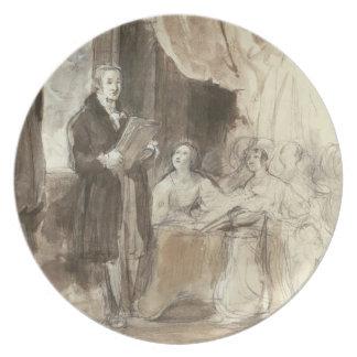 Sir Robert Peel que lee a la reina Victoria Plato De Cena