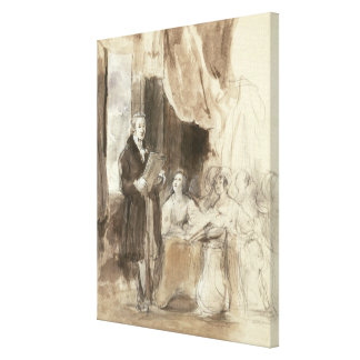 Sir Robert Peel Reading to Queen Victoria Canvas Print
