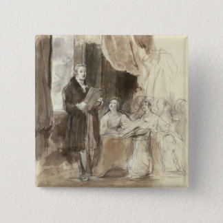 Sir Robert Peel Reading to Queen Victoria Pinback Button