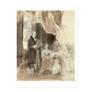 Sir Robert Peel Reading to Queen Victoria Postcard