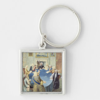 Sir Robert Walpole addressing his cabinet Silver-Colored Square Keychain
