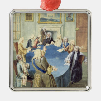 Sir Robert Walpole addressing his cabinet Square Metal Christmas Ornament