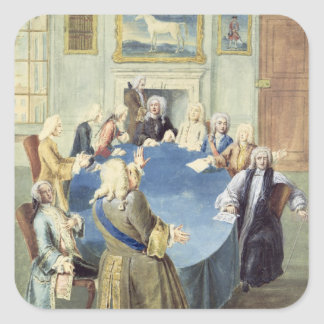 Sir Robert Walpole addressing his cabinet Square Sticker