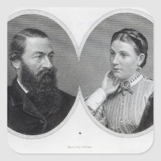 Sir Samuel and Lady Florence Baker, 1866 Square Sticker