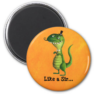 Sir T-rex with Moustaches 2 Inch Round Magnet
