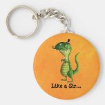 Sir T-rex with Moustaches Basic Round Button Keychain