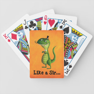 Sir T-rex with Moustaches Bicycle Playing Cards