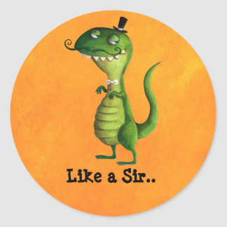 Sir T-rex with Moustaches Classic Round Sticker