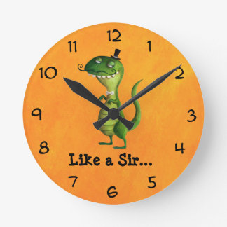 Sir T-rex with Moustaches Round Wallclock