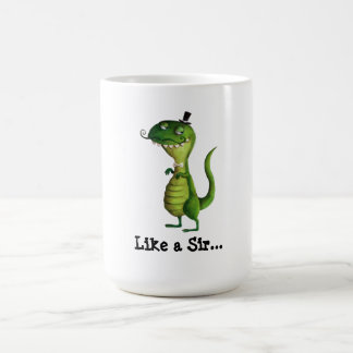 Sir T-rex with Moustaches Coffee Mug