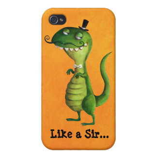 Sir T-rex with Moustaches Covers For iPhone 4