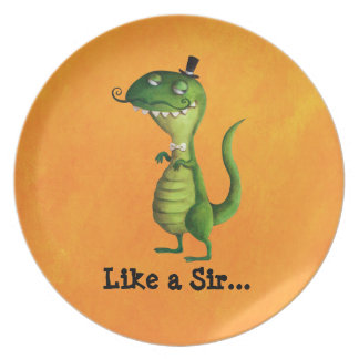 Sir T-rex with Moustaches Dinner Plate