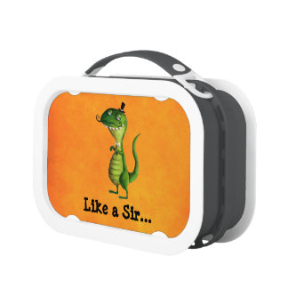 Sir T-rex with Moustaches Lunch Box