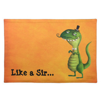 Sir T-rex with Moustaches Placemat