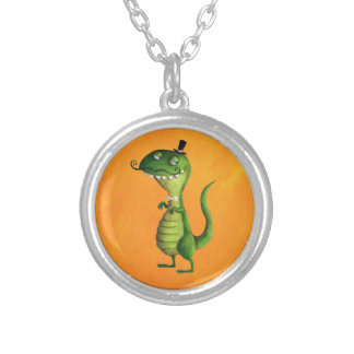 Sir T-rex with Moustaches Round Pendant Necklace