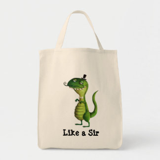 Sir T-rex with Moustaches Tote Bag