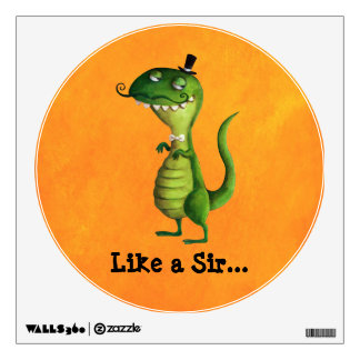 Sir T-rex with Moustaches Wall Sticker