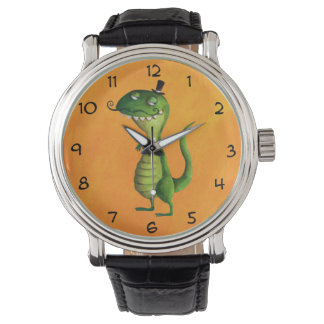 Sir T-rex with Moustaches Wrist Watches