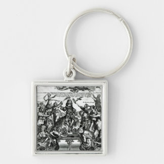 Sir Thomas Urquhart Silver-Colored Square Keychain