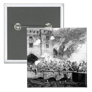 Sir Thomas Wyatt Attacking la torre de Byward Pin Cuadrada 5 Cm
