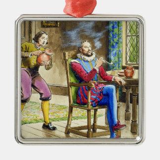Sir Walter Raleigh (1554-1618) de 'píos en el th Adorno Navideño Cuadrado De Metal