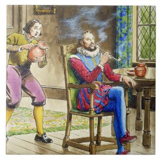 Sir Walter Raleigh (1554-1618) de 'píos en el th Azulejo Cuadrado Grande