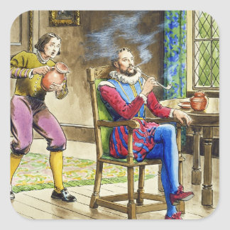 Sir Walter Raleigh (1554-1618) from 'Peeps into th Square Sticker