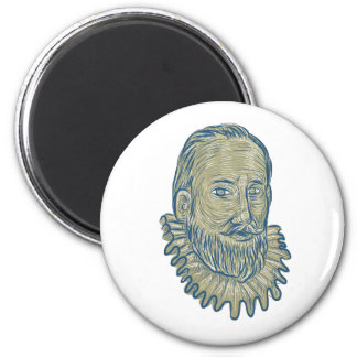 Sir Walter Raleigh Bust Drawing Magnet