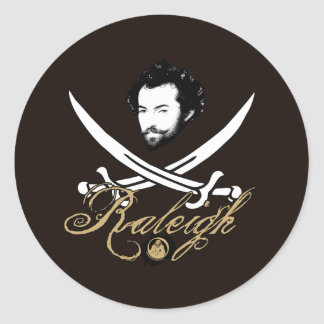 Sir Walter Raleigh Pirate Insignia Classic Round Sticker