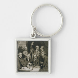 Sir William Hamilton (1730-1803) with other Connoi Silver-Colored Square Keychain