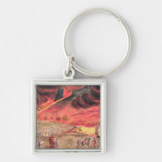 Sir William Hamilton  Studying the Eruption Silver-Colored Square Keychain