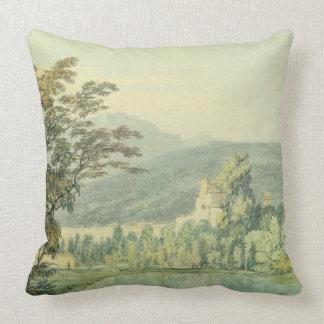 Sir William Hamilton's Villa, c.1795 (w/c over pen Throw Pillow