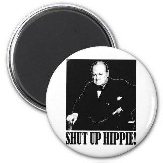 ¡Sir Winston Churchill dice encierrado al Hippie! Imán Redondo 5 Cm
