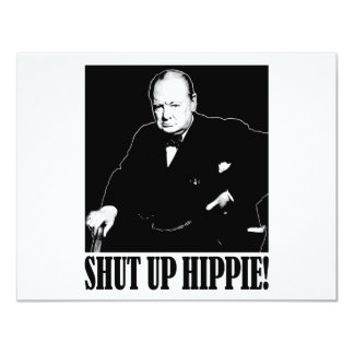 ¡Sir Winston Churchill dice encierrado al Hippie! Invitación 10,8 X 13,9 Cm