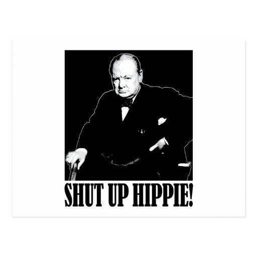 ¡Sir Winston Churchill dice encierrado al Hippie! Postal