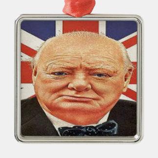 Sir Winston Churchill Square Metal Christmas Ornament