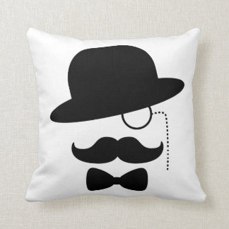 Sir with Moustache Throw Pillow