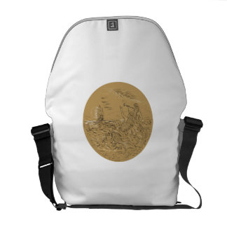 Siren On Island Waving Calling Tall Ship Circle Dr Courier Bag
