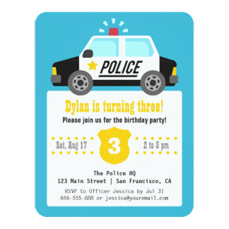 Siren Police Car Kids Birthday Party Card